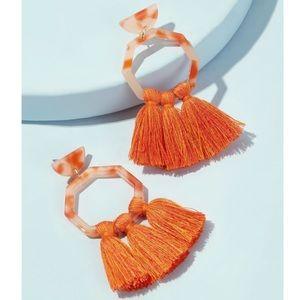 SALE 🎉 Orange Tassel Dangle Trendy Earrings